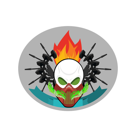 protective mask: Military emblem. Paintball . Army sign. Skull in protective mask and weapons. Awesome badge for sports teams and clubs Illustration