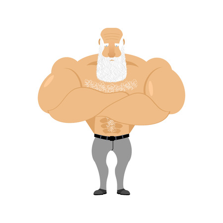 Strong grandfather fitness. Retired athlete. Old man Sports. Powerful creaker with white beard