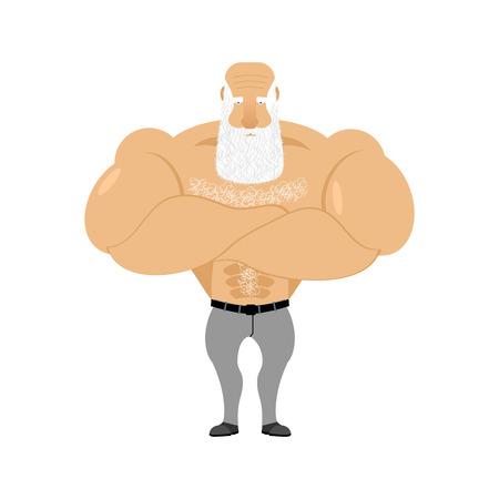 Strong grandfather fitness. Retired athlete. Old man Sports. Powerful creaker with white beard Ilustração Vetorial