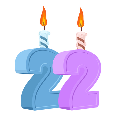 22 years birthday. Number with festive candle for holiday cake. twenty two Anniversary