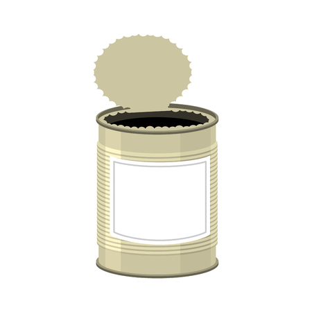 tincan: Open cans isolated. opened Tin bank on white background