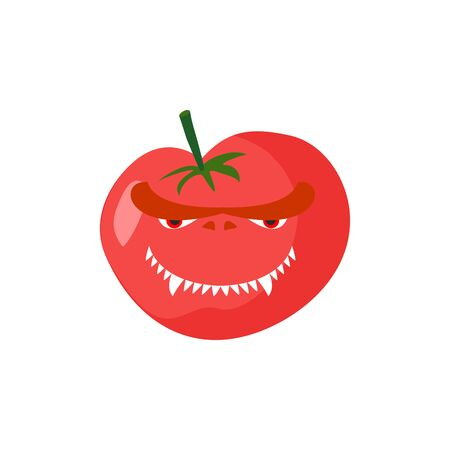 angry vegetable: Angry Tomato. Aggressive red vegetable. Dangerous fruit