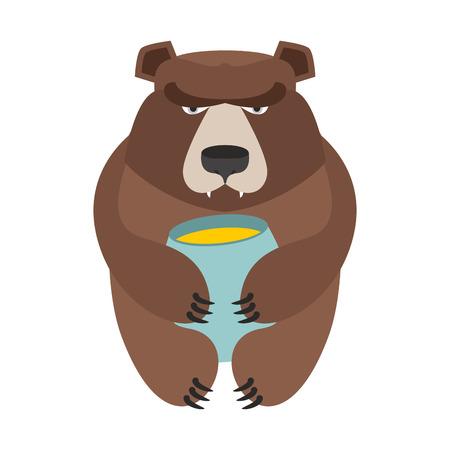 Bear and honey barrel. Cute wild animal and food. Forest predator Illustration