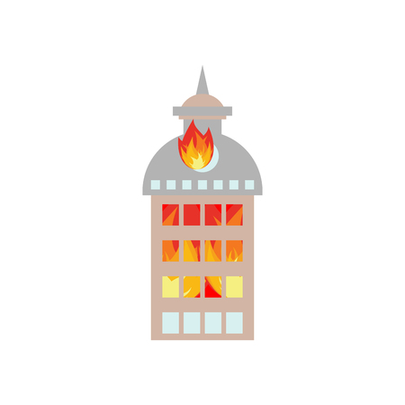 spontaneous: Fire in building. Flames from office windows. Arson home. Burn facility. Spontaneous disaster. Apocalypse on earth Illustration