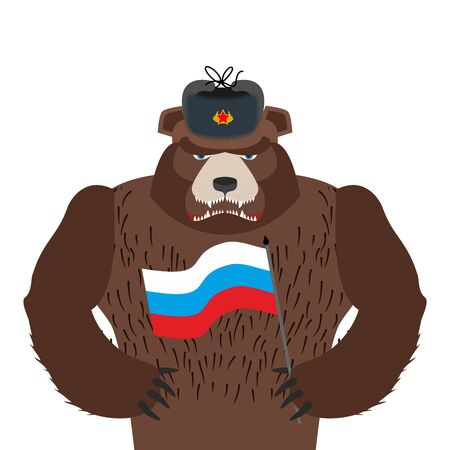 Bear in fur hat isolated. Wild animal and Russian flag. Beast in Russia