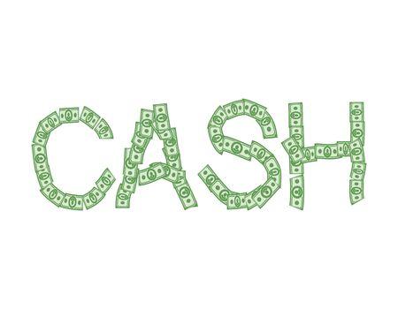 Cash text of money. Typography dollars emblem Illustration