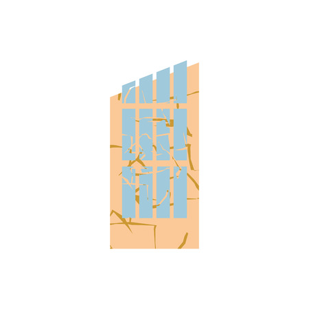 spontaneous: Hurricane demolition building. Broken house war. Earthquake ruined architecture. Cracks and splinters of Destroyed facility. spontaneous disaster Illustration