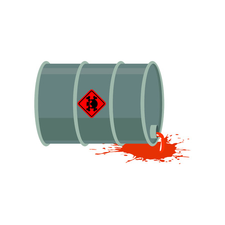 ecological disaster: Toxic waste barrel. Radioactive industry garbage emissions. Chemical refuse keg. Poisonous liquid cask.  environmental pollution. danger of ecological disaster