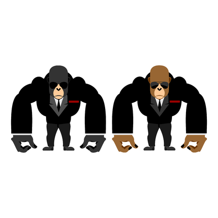 monkey suit: Gorilla bouncer. Big strong animal guard. Monkey in black suit bodyguard