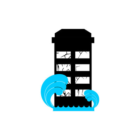 spontaneous: Flood Building. Flooding house. many of water architecture. Deluge institution. spontaneous disaster. Tsunami cataclysm city