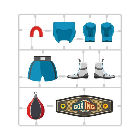model kit: Boxing set Plastic Model kit. Collection champion. Gloves and protective helmet. Sports shorts and cap. punching bag and winner belt.