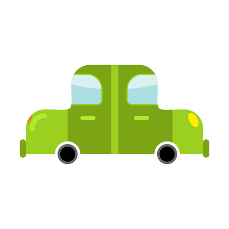 Car green isolated. Transport on white background. Auto in cartoon style