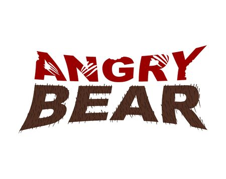 angry bear: Angry Bear emblem. Bite letters. fur typography Illustration