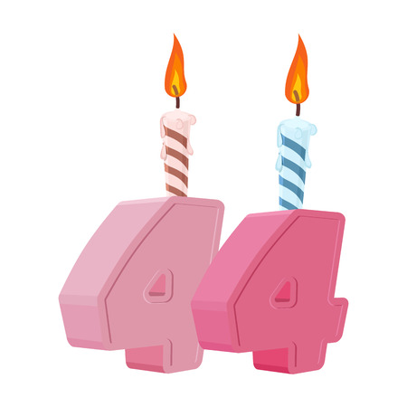 44 years birthday. Number with festive candle for holiday cake. Forty-four Anniversary Ilustração