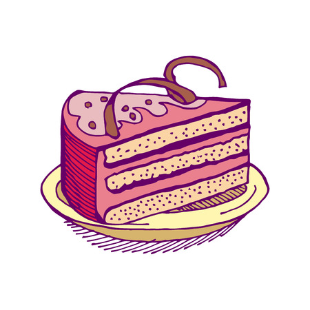 porcion de torta: Piece of cake hand-drawing. pie isolated. Dessert on white background. Sweets cakes. Cream and biscuit. Birthday confectionery food Vectores