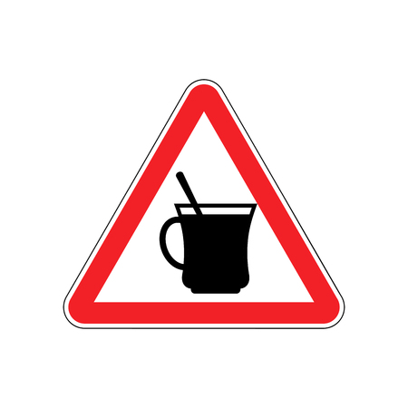 hazardous imperil: Coffee Warning sign red. Drinking tea Hazard attention symbol. Danger road sign triangle cup