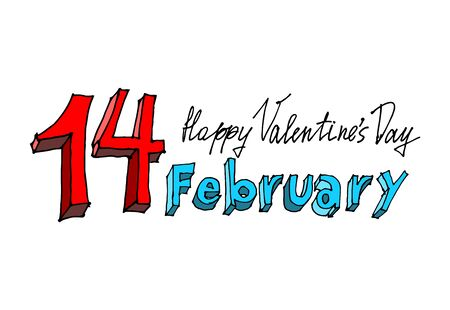 valentino: 14 February lettering. Valentines Day emblem. Typography for day enamored