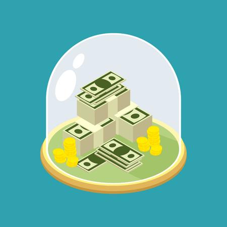 Geld unter Glasglocke. Transparente Kuppel für Finanzen. Der Schutz Bargeld Vektorgrafik