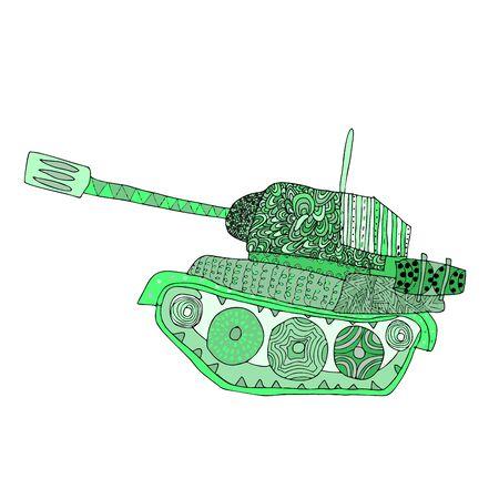 Tank doodle. Fighting war machine. army panzer Illustration