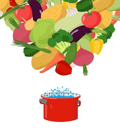 Vegetables in saucepan. Boil vegetable soup. Vegetarian food. Cover for menu Stock Illustratie