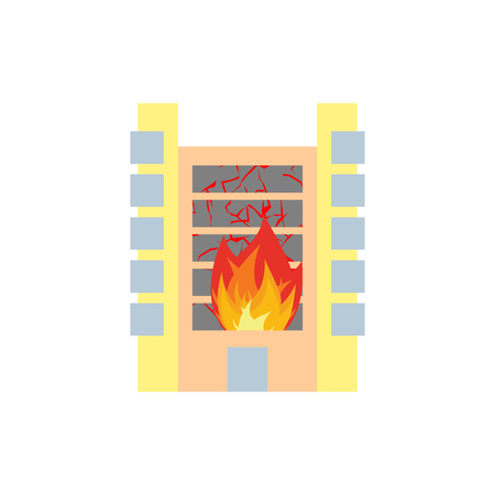 Fire in building. Flames from office windows. Arson home. Burn facility. Spontaneous disaster. Apocalypse on earth Illustration