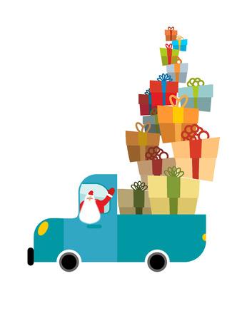 Santa truck. Car and Christmas gifts. Holiday Services  New Year