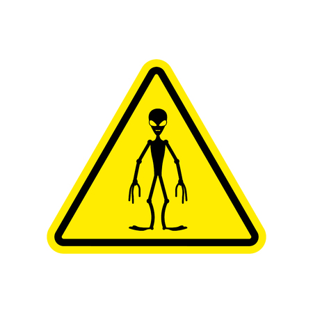 UFO Warning sign yellow. Alien Hazard attention symbol. Danger road sign triangle invader