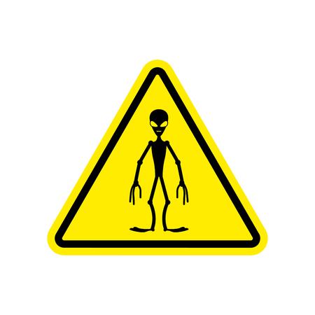 hazardous imperil: UFO Warning sign yellow. Alien Hazard attention symbol. Danger road sign triangle invader
