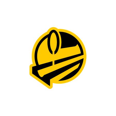 metallurgy . Steel-furnace symbol. Melting metal emblem. Heavy industry sign