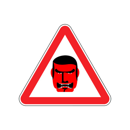 Angry Boss Warning sign red. Evil Head Hazard attention symbol. Danger road sign triangle terrible Director Illustration
