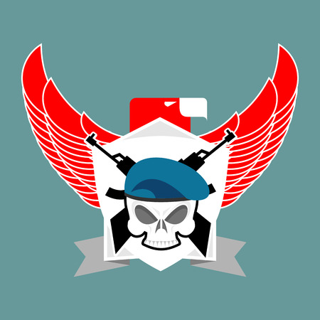 corps: Military emblem Skull in beret.  Wings and weapons. Army . Soldiers badge. Eagle and guns. Awesome sign for troops. blazon commando