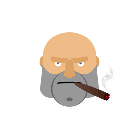 cigar smoking man: Angry man with cigar. Aggressive male face isolated