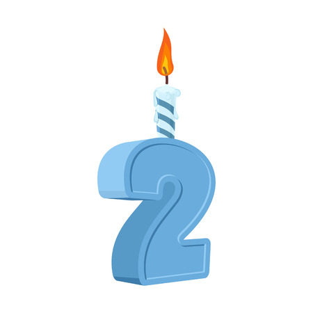 2 years birthday. Number with festive candle for holiday cake. Forty Anniversary