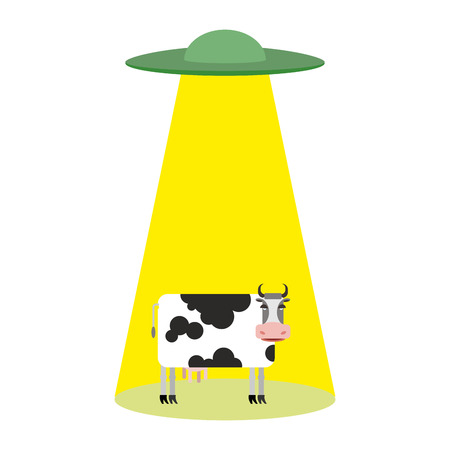 UFO and cow. Aliens abduct cattle.