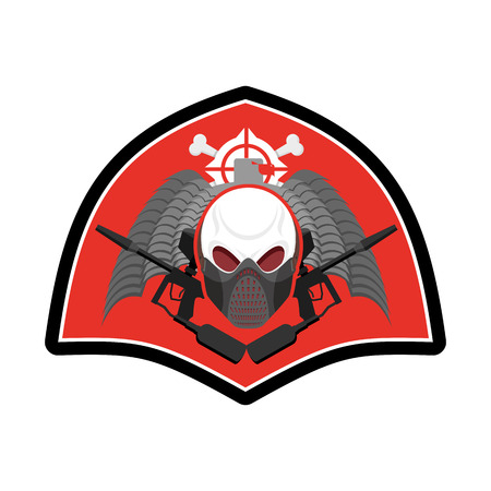 Military emblem. Paintball . Army sign. Skull in protective mask and weapons. Awesome badge for sports teams and clubs Illustration
