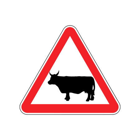 Cow Warning sign red. Farm Hazard attention symbol. Danger road sign triangle cattle Illustration