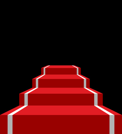 Red carpet stage isolated. VIP ladder in dark background