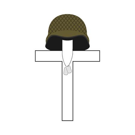 Grave of soldier. Cross and military helmet. Soldier badge. Patriotic memorial illustration Vetores