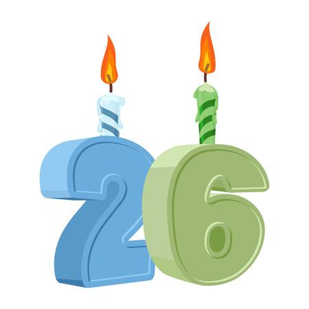 twenty six: 26 years birthday. Number with festive candle for holiday cake. twenty six Anniversary
