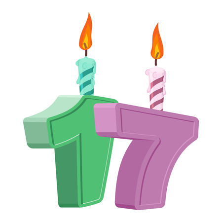 17 years birthday. Number with festive candle for holiday cake. seventeen Anniversary Ilustração