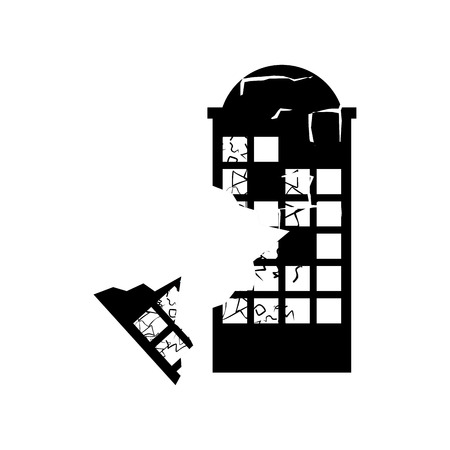 broken house: Destroyed building earthquake. Broken house war. ruined architecture. Cracks and splinters of demolition facility. spontaneous disaster Illustration