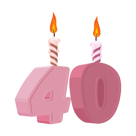 40 years birthday. Figures with festive candle for holiday cake. Forty Anniversary Ilustração