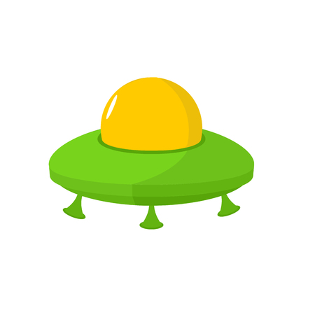 invader: UFO isolated. Flying saucer on white background. Space transport for aliens. galaxy invader Illustration