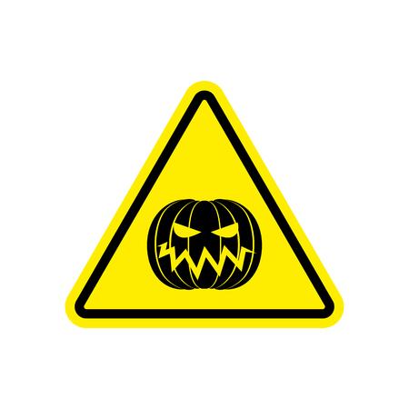 hazardous imperil: Halloween Warning sign yellow. Masquerade Hazard attention symbol. Danger road sign triangle pumpkin