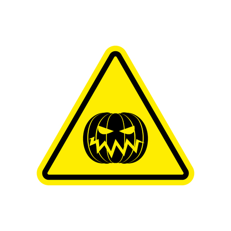 Halloween Warning sign yellow. Masquerade Hazard attention symbol. Danger road sign triangle pumpkin