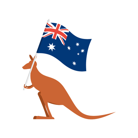 Kangaroos and Australian flag. wallaby for Australia Day emblem Illustration