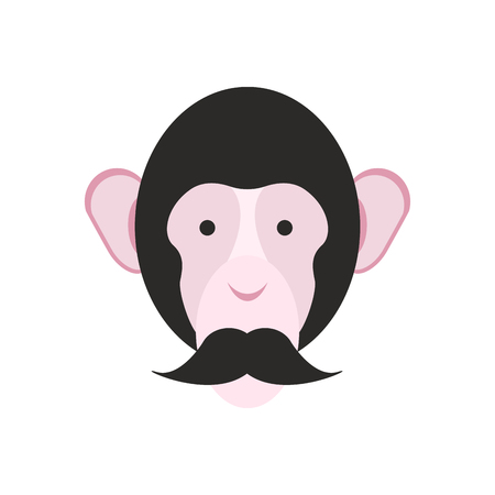 Monkey with mustache. Chimpanzee head. Primacy of person Illustration