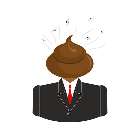 Shit call Center. Turd with headset. Poop operator feedback from  clients. Disgusting Customer Service Illustration