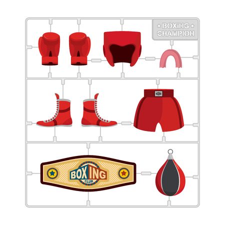 model kit: Boxing set. Collection champion. Gloves and protective helmet. Sports shorts and cap. punching bag and winner belt. Plastic Model kit