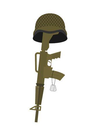 Grave soldier. Helmet and gun instead of cross. Badge Army. War tomb Illustration